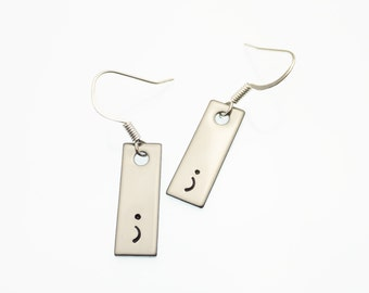 Simple Earrings | Hand Stamped Jewelry | Punctuation Earrings