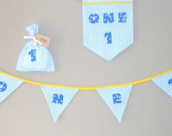 1st Birthday Blue Bunting, Bunting banner, Birthday photo props, Fabric bunting