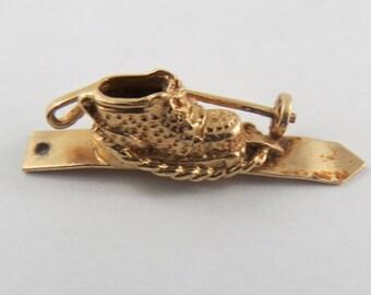 Ski, Boot and Pole 14K Gold Vintage Charm For Bracelet