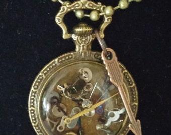 Steampunk Pendant Free Shipping Compass Steampunk necklace Steampunk jewelryBronze Gift Clock Work