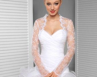 Long sleeve embroidered tulle Bridal Bolero Wedding Shrug Bridal Jacket