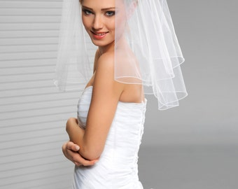 2 Tier Short Bridal Wedding Veil with cording edge