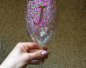 Personalized Initial Wine Glass