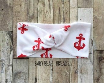 Red Nautical Anchors - Turban Head Wrap - Baby Headband - Jersey Knit