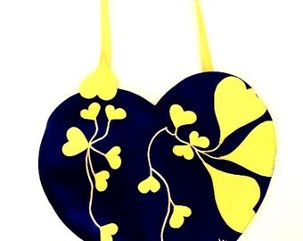 "Blue Handbag with yellow hearts - ""Xiva"""