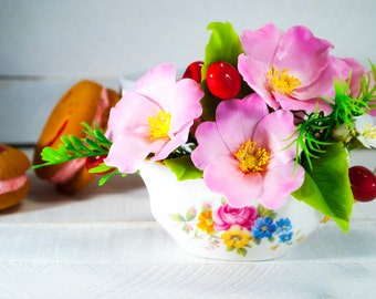 Pink rosehip floral arrangement with red cherry, Cold porcelain, Briar, Rose, Polymer clay, Flowers in sauceboat, Summer home decoration
