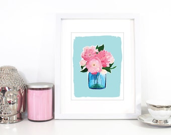 Art Print, Pink Peonies, Wall Art, Home Decor