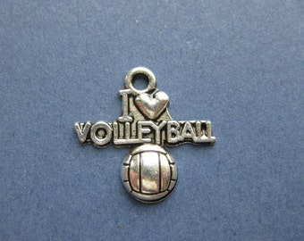 10 I Love Volleyball Charm - I Love Volleyball Pendant - Volleyball - Sports - Antique Silver- 20mm x 19mm. -- (L8-10577)
