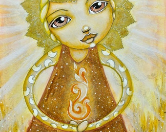 Lucynda-beacon of light-Whimsical face-Painting mixed media original watercolor on paper, 25.5 × 35.5 cm