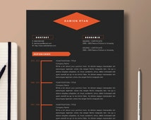 Popular items for modern resume on etsy for Microsoft word graphic design