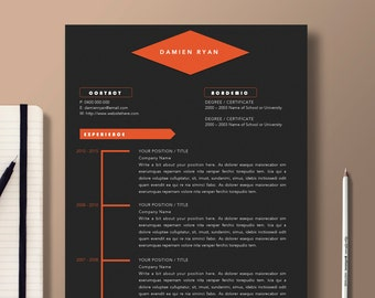 professional resume template 2 page resume 1 page cover letter graphic design template - Ms Word Resume Templates