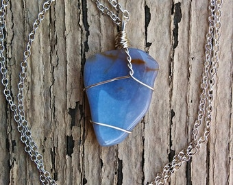 Blue Chalcedony Necklace (hand made, sterling silver)