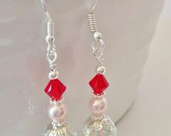 Red Droplet Earrings Pink Earrings Red Crystal Earrings Bridesmaid Gift Crystal Jewelry Wedding Set Swarovski Crystal Red Bridesmaid