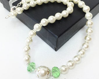 Ivory Pearl Wedding Necklace Wedding Jewelry Green Crystal Jewelry Bridesmaid Necklace Mother of the Bride Wedding Jewelry Set