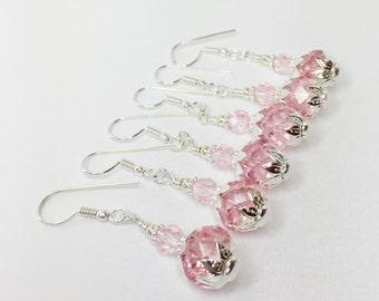Pink Crystal Earrings Bridesmaid Earrings Wedding Set Drop Earrings Crystal Beaded Jewelry Bridesmaid Gift Pink Jewelry Pink Bridesmaid