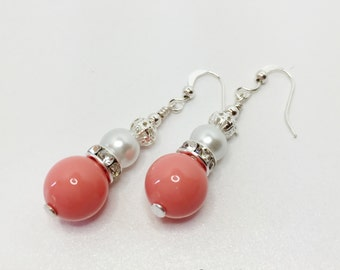 Coral Drop Earrings Set of 5 Pearl Wedding Gift Beaded Dangle Earrings Coral Bridesmaid Set Summer Wedding White Pearl Sparkle Jewellery