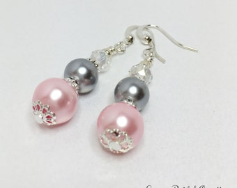 Pink Crystal Earrings Bridesmaid Earrings Grey Pearl Earrings Pink Pearl Jewelry Wedding Jewelry Bridesmaid Gift Jewelry Set Pink and Silver