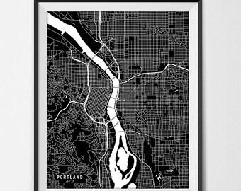 Portland Map Print, Portland Poster of Oregon Map of Portland Print Gift Portland Oregon Art PSU University Poster Pacific Northwest