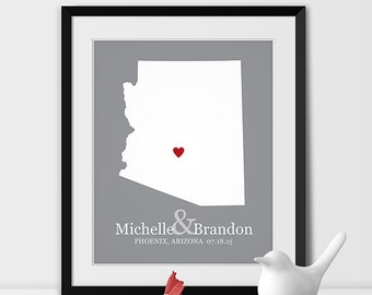 Personalized Wedding Gift, State Map Print, Bride & Groom Names and Wedding Date, Bridal Shower Gift, Anniversary Gift, Engagement Gift, Map