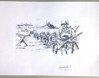 D-Day Landings. Original pencil illustration.