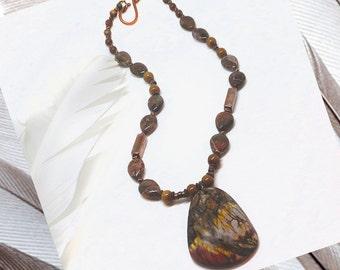 Picasso Red Creek Jasper Pendant, 18in Necklace
