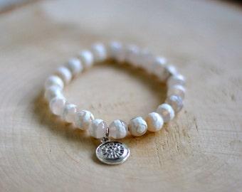 Bracelet pour femmes pierres semi-précieuses  - Agate du tibet blanche