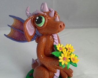 Terracotta & mauve 'Spring Dragon' with pearlised rainbow wings