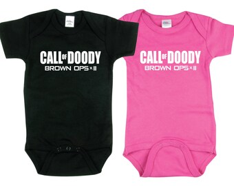 Twin Boy and Girl, Call of Doody, Baby Gift 2 piece set Baby gift for Twin Boy and Girl
