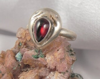 SALE Teardrop Garnet Sterling Ring