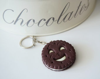 Keychains BN chocolate biscuit and luminescent smile in polymer clay