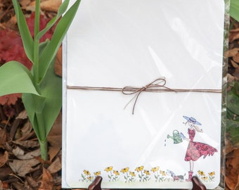 Stationery Set - Garden Writing Paper - Pen Pals - Stationery Paper - Writing Paper - Flower Letter Writing Set - Recipe Paper - Snail Mail