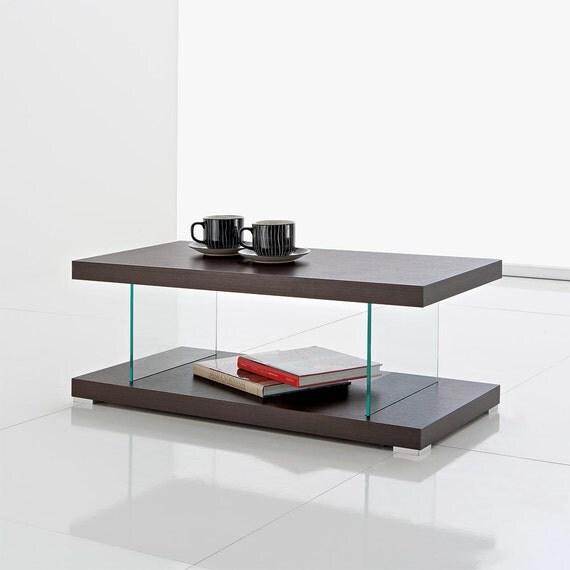 tavolino basso salotto porta tv con 2 ripiani in legno wengé - Tavolini Soggiorno Wenge 2
