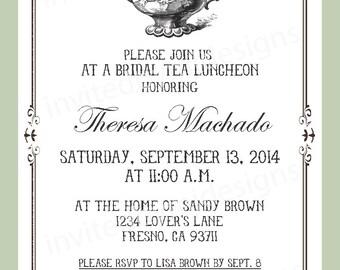Bridal Tea Luncheon invitation, teapot, bridal shower, elegant
