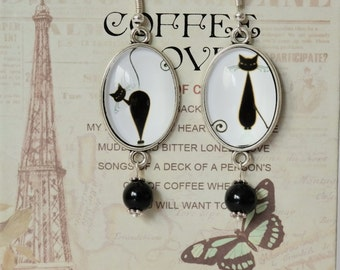Drop earrings with Cabochon Chat Noir