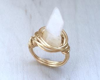 Cream Quartz Wire Wrapped Ring