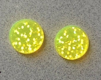 16mm Acrylic Light Yellow Sparkles Earring Blanks - Monogrammed Earrings