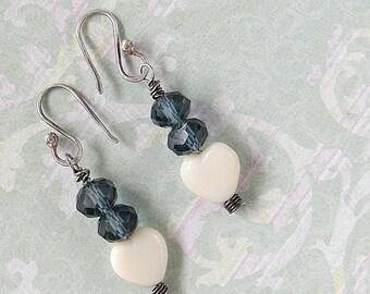 Dangle Earrings - Dangly  Earrings - Beaded Earrings - Heart Earrings - Dangle Earrings for Mom - Something Blue Earrings - Blue Earrings
