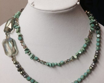 Chic Green 2-Strand Beaded Necklace