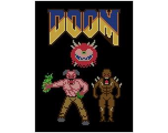 Doom Video Game Classic - Cross Stitch PDF Pattern Instant Download