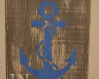 Wood Anchor Sign Nautical Ocean Blue Beach Decor