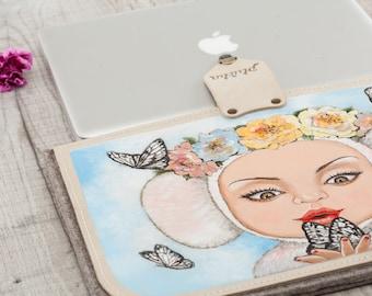 Butterflies, handpainted felt case for MacBook Air, MacBook Pro case, handmade pouch MacBook, laptop sleeve Apple, custom case