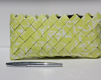 Unique handmade water resistant yellow wrapping paper purse