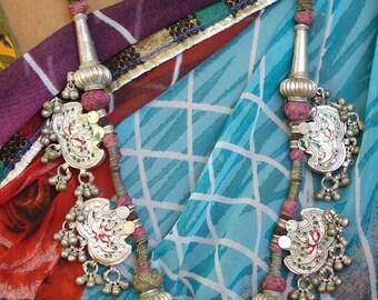 vintage antique ethnic tribal old silver taviz amulet pendant necklace