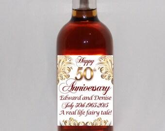 50th anniversary wine label, gold wedding anniversary, gold wine label, personalized anniversary wine label, custom anniversary wine label
