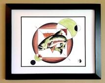 Salmon w/ Root Chakra Art Print - Fish Wall Art - Ink and Watercolor