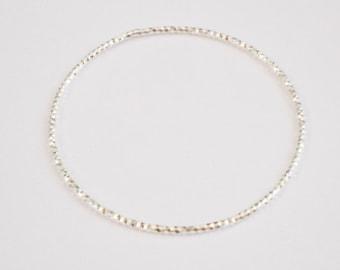 Thin Diamond Cut Sterling Silver Individual/Single Bangle Bracelet