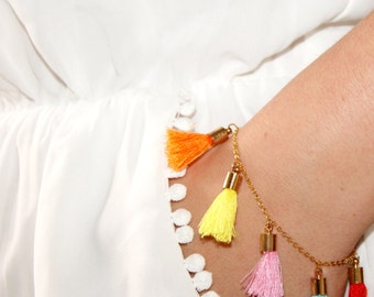 Gold Plated Bright and Colourful Handmade Tassel Bracelet