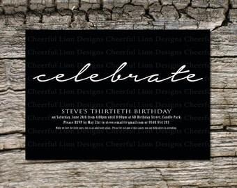 Birthday Invitation, Celebrate, Personalised Digital File (PDF)