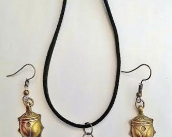 Egyptian Scarab Beetle Antique Bronze charm suede cord necklace and matching drop earring jewelley set