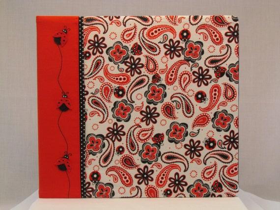 12x12 Postbound Fabric Scrapbook Photo Album Memory Book Handmade Ladybug Lady Bug Bugs Flower Garden Paisley Red AO68 Album Outfitters